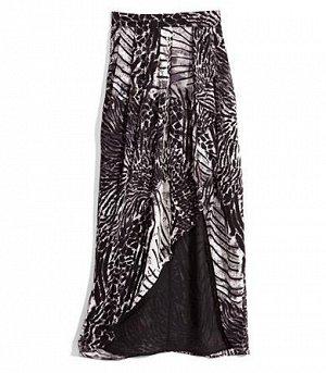 Шифоновая юбка-макси с животным принтом 46 размер