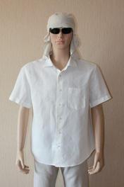 мужская рубашка льняная белая короткий рукав