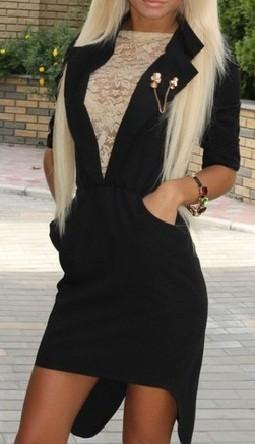 Платье-фрак черное элегантное НОВОЕ
