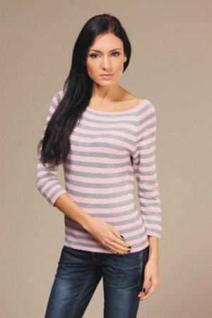Джемпер полосатый розово-серый