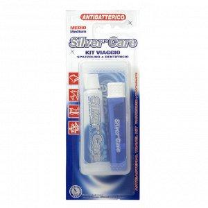 арт1502 Специальный комплект для путешественников Состав набора: дорожную зубную щетку с серебряным покрытием, зубную пасту-гель Silver Care Fresh-mint (25 мл). Комплект незаменим в дороге, во время п