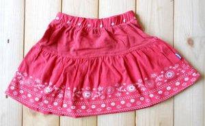 Красная трикотажная юбка на кокетке