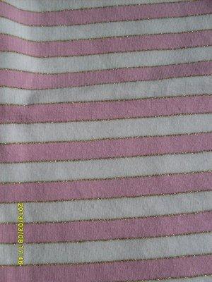 Лосины в полоску с люрексом розовые с белым