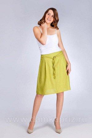 Льняная юбка. Цвет коралловый