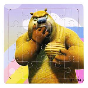 Медведь Размер 15*15 см; 20 деталей. Деревянные пазлы для маленьких (от 36 месяцев). Для облегчения процесса сборки картинка нанесена и под съемные детали.