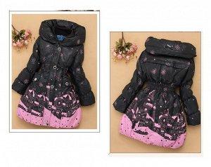 Пуховое пальто коричневое с розовым