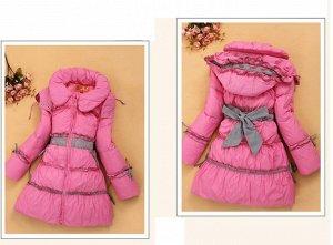 Пуховое пальто розовое