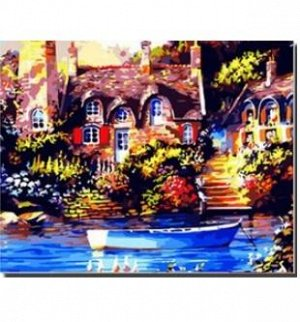 Дом у воды Размер 40*50 см, на раме. !!!Краски в наборе могут быть, увы, подсохшими в большей или меньшей степени. Что делать? Можно использовать свои или такие универсальные акриловые краски, как, на