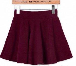 Плисированная юбка бордовая