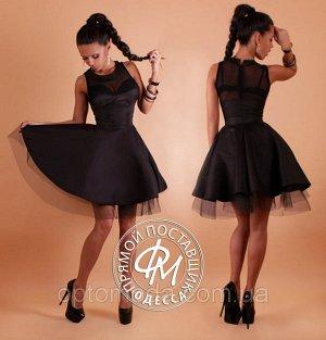 Платье нарядное, мемори-коттон, сетка и фатин, очень маломерит!!