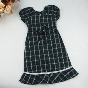 Платье в клетку темно-зеленое