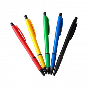 Ручка шариковая автоматическая OfficeSpace синяя, 0,7мм, грип, цветной корпус