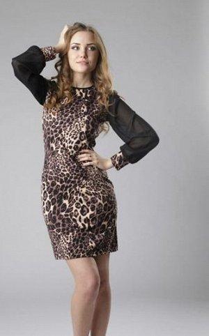 платье леопардовое, 46-48 размер
