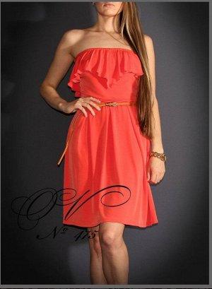 Платье Короткое платье кораллового цвета с открытыми плечами, длина-мини, Материал: трикотаж масло (поливискоза