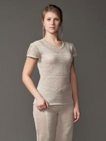 Женский вязанный джемпер с коротким рукавом из льна
