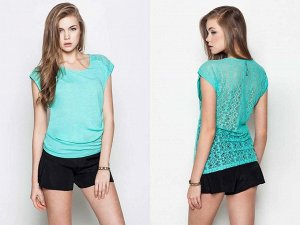Замечательная блузка мятного цвета с кружевной спинкой 46-48 размер