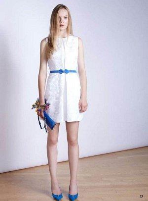 Платье с карманами белое Италия Блу==герл.