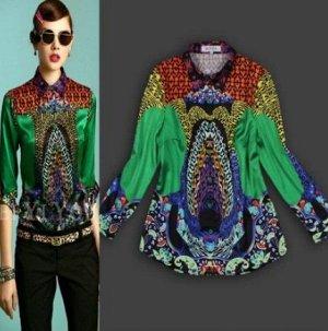 Блузка рубашка с ярким принтом