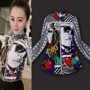 Блузка рубашка с ярким принтом под комикс