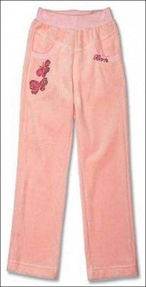 """Брюки Брюки прямого силуэта из ткани-велюр, над карманом справа """"Большие бабочки""""из страз цвета фуксии., цвет Розовый."""