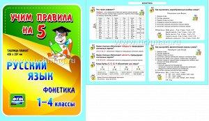 ФГОС,Русский язык. Фонетика. 1-4 классы.,(Таблица-плакат 420х297),(А3 свернут в А5)