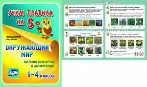 ФГОС,Окружающий мир. Растения культурные и дикорастущие. 1-4 классы.,Таблица-плакат 420х297,(А3 свернут в А5)