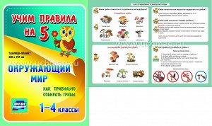 ФГОС,Окружающий мир. Как правильно собирать грибы. 1-4 классы.,Таблица-плакат 420х297,(А3 свернут в А5)