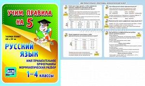 ФГОС,Русский язык. Имя прилагательное. Орфограммы. Морфологический разбор. 1-4 классы.,(Таблица-плакат 420х297),(А3 свернут в А5