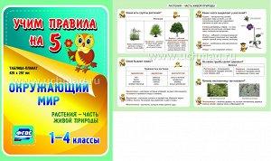 ФГОС,Окружающий мир. Растения - часть живой природы. 1-4 классы.,(Таблица-плакат 420х297),(А3 свернут в А5)