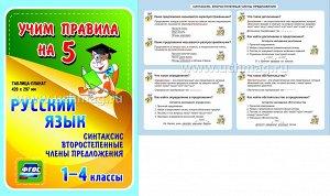 ФГОС,Русский язык. Синтаксис. Второстепенные члены предложения. 1-4 классы.,(Таблица-плакат 420х297),(А3 свернут в А5)