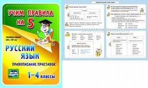 ФГОС,Русский язык. Правописание приставок. 1-4 классы.,(Таблица-плакат 420х297),(А3 свернут в А5)