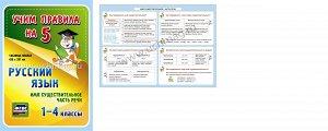 ФГОС Русский язык. Части речи. Имя существительное. 1-4 классы.,Таблица-плакат 420х297,(Формат А3 свернут в А5)