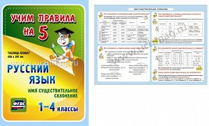 ФГОС Русский язык. Имя существительное. Склонение. 1-4 классы. Таблица-плакат 420х297,(Формат А3 свернут в А5)