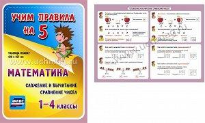 Математика. Сложение и вычитание. Сравнение чисел. 1-4 классы.,Таблица-плакат 420х297,(Формат А3 свернут в А5)