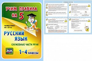 ФГОС Русский язык. Служебные части речи. 1-4 классы. Таблица-плакат 420х297 (А3 свернут в А5)
