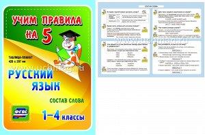 ФГОС Русский язык. Состав слова. 1-4 классы. Таблица-плакат 420х297,(А3 свернут в А5)