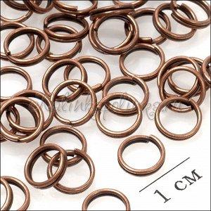 Колечки соединительные двойные, с гальваническим покрытием цвета медь. р-р. 8х0.6мм.