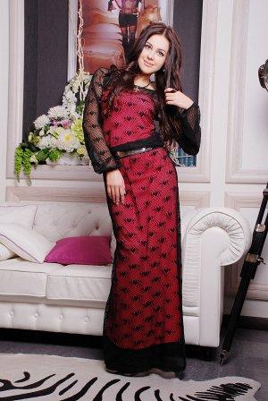платье Irena Richi сетка_черный+малина ДЕШЕВЛЕ СП