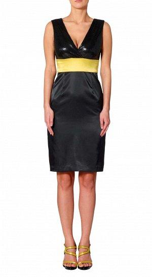 Платье, черно-лимонное