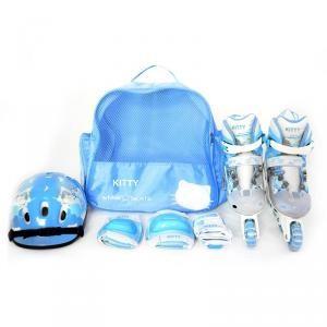 сегодня в 15:57 Ролики плюс шлем для девочки Kitty Blue 16-18 см раздвижные реал фото