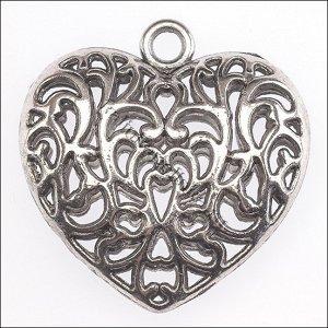 Кулон Сердце , цвет античное серебро