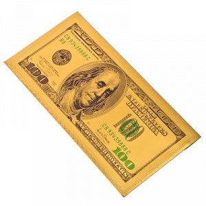"""Конверт для денег 9x18см, """"Золотые 100 долларов"""" пластик"""