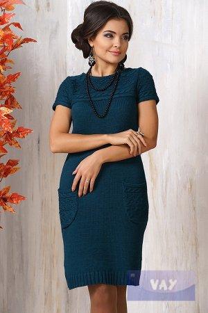 Изумрудное вязаное платье/сарафан