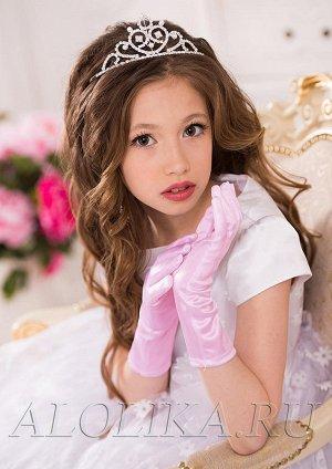 Элегантные перчатки для девочек, 24 см