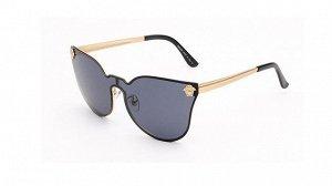 Солнцезащитные очки черные в тонкой золотой оправе