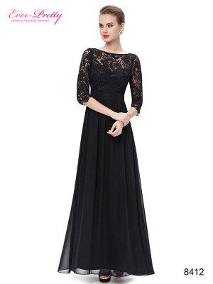 Элегантное черное вечернее платье с кружевом.