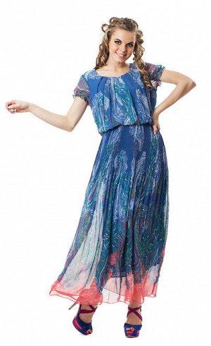 Платье в пол, шифон р 50-52