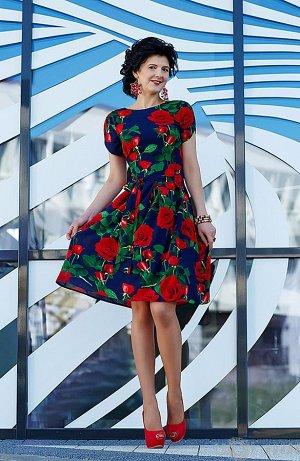 Яркое шифоновое платье (пр-во Корея) на 48 размер на рост 164-170 см
