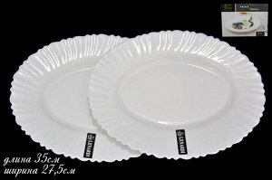 Набор Набор из 2х овальных тарелок 25см ТРИУМФ в под.уп.(х24)Опаловое стекло  Опаловое стекло