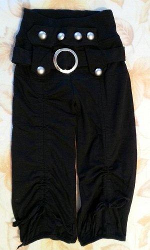 Капри с поясом черные